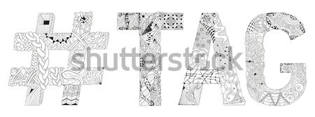 Word spa with hashtag for coloring. Vector decorative zentangle object Stock photo © Natalia_1947