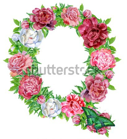Letter Q of watercolor flowers Stock photo © Natalia_1947