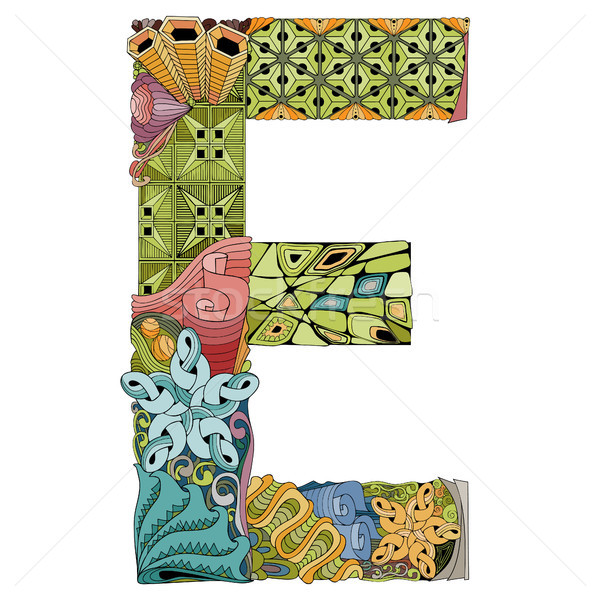 Letter E zentangle. Vector decorative object Stock photo © Natalia_1947