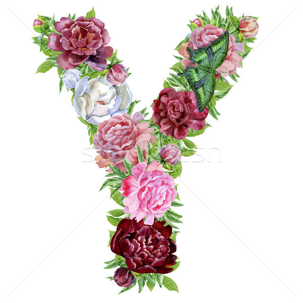 Letter Y of watercolor flowers Stock photo © Natalia_1947