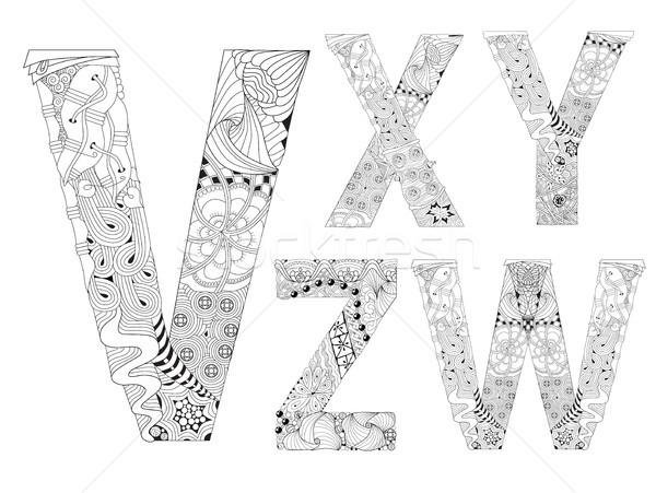 Olağandışı alfabe karalama stil harfler beyaz Stok fotoğraf © Natalia_1947