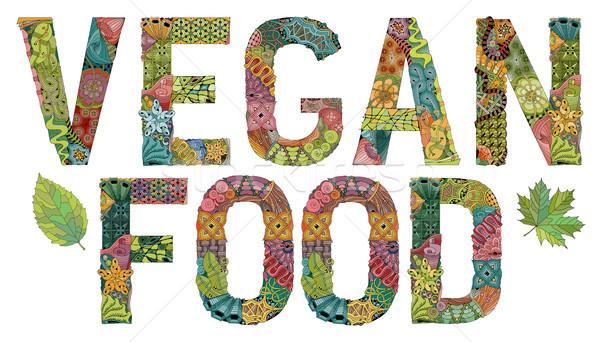 Szavak vegan étel vektor dekoratív tárgy Stock fotó © Natalia_1947