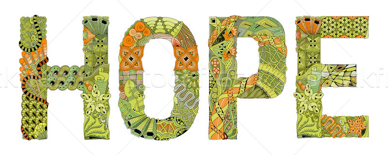 Word HOPE for coloring. Vector decorative zentangle object Stock photo © Natalia_1947