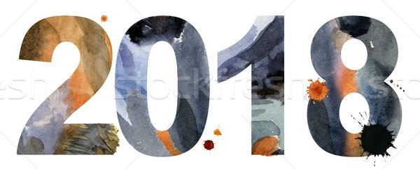 Новый год акварель числа изолированный белый бумаги Сток-фото © Natalia_1947