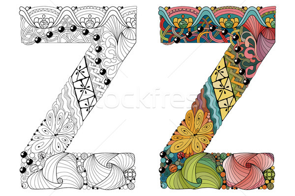 Letter Z zentangle for coloring. Vector decorative object Stock photo © Natalia_1947