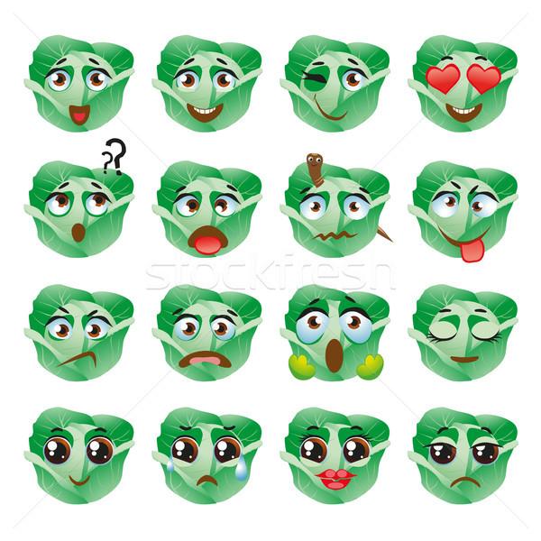 Cabbage Emoji Emoticon Expression. Funny cute food Stock photo © Natalia_1947