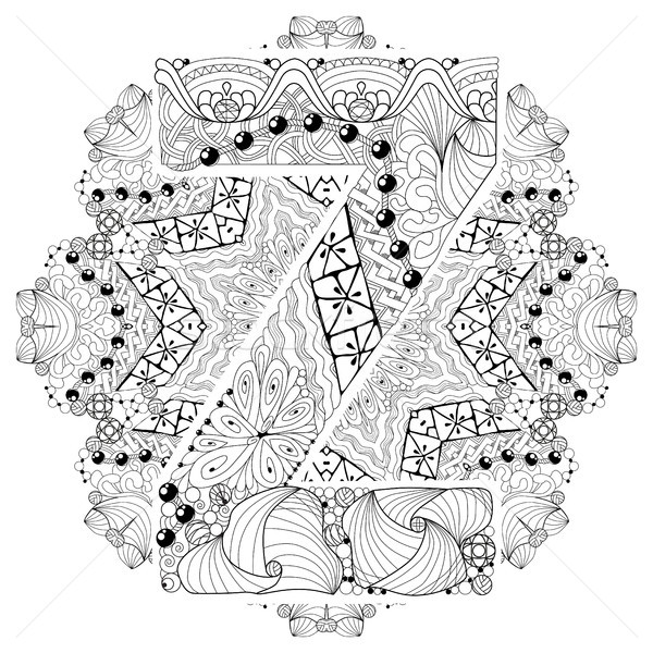 Mandala with letter Z for coloring. Vector decorative zentangle Stock photo © Natalia_1947