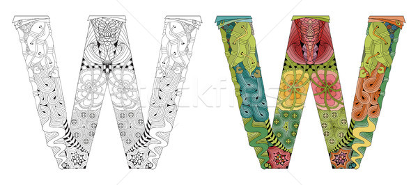 Letter W zentangle for coloring. Vector decorative object Stock photo © Natalia_1947