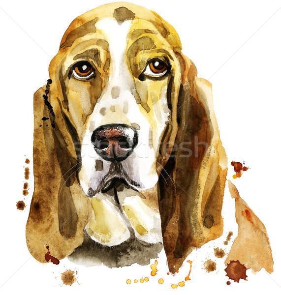 акварель портрет гончая Cute собака футболки Сток-фото © Natalia_1947
