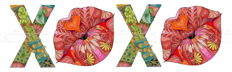 Stock photo: Word XOXO with silhouette of lips. Vector decorative zentangle object