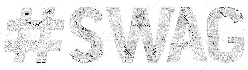 Word SWAG with hashtag for coloring. Vector decorative zentangle object Stock photo © Natalia_1947