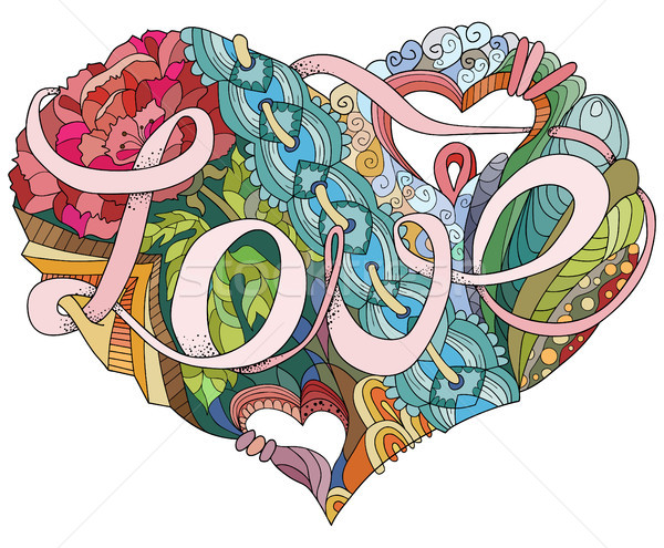 Sketchy Doodle Heart Illustration with word LOVE Stock photo © Natalia_1947