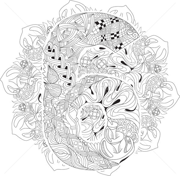 Mandala with numero six for coloring. Vector decorative zentangle Stock photo © Natalia_1947