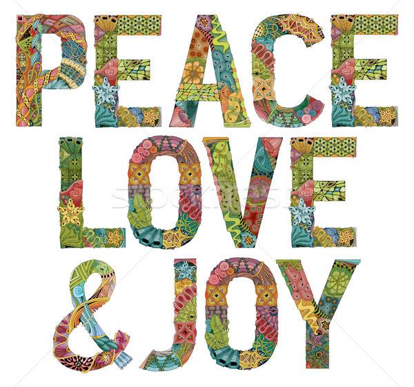 Palabras paz amor alegría vector decorativo Foto stock © Natalia_1947