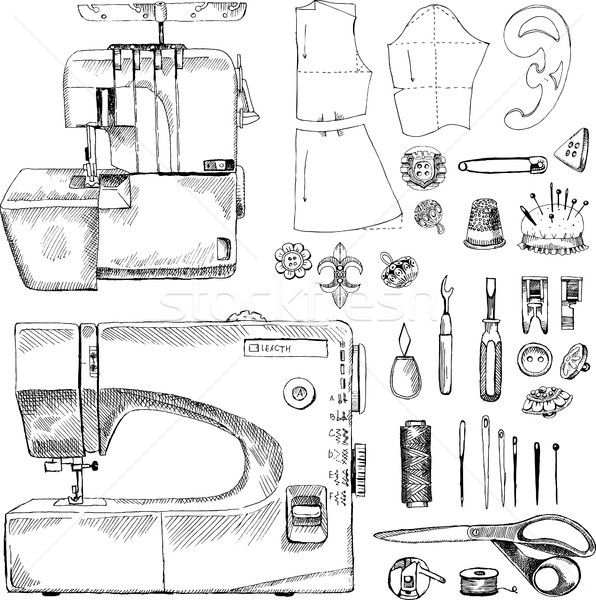 Hand Drawn Sketch Sewing Set Stock photo © Natalia_1947
