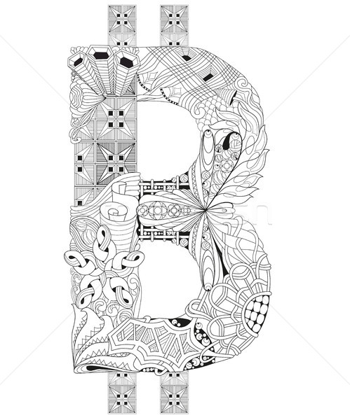 Symbol of bitcoin zentangle. Vector decorative number Stock photo © Natalia_1947
