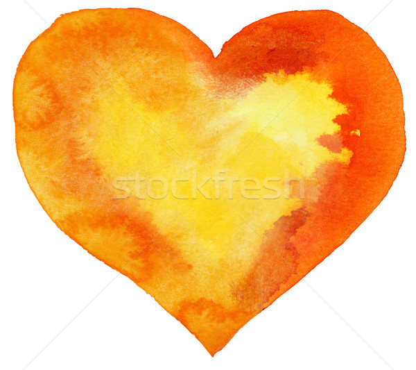 watercolor orange heart with yellow center Stock photo © Natalia_1947