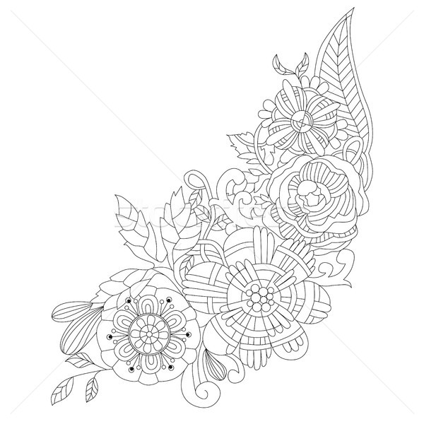 Stock photo: Flowers for coloring book for adults vector