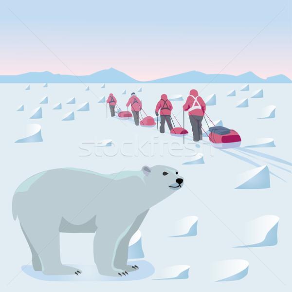 экспедиция Арктика люди ходьбе ледяной пустыне Сток-фото © Natalia_1947