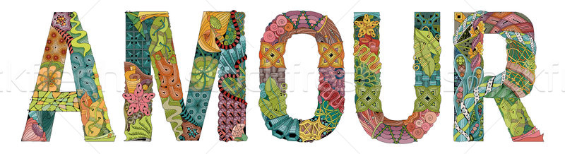 Word AMOUR for coloring. Vector decorative zentangle object Stock photo © Natalia_1947