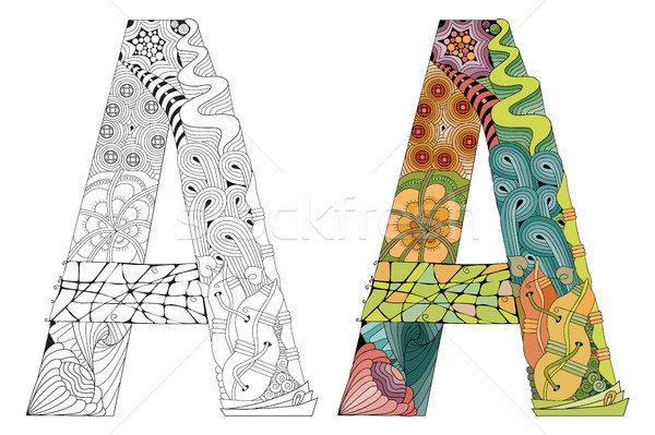 Letter A zentangle for coloring. Vector decorative object Stock photo © Natalia_1947