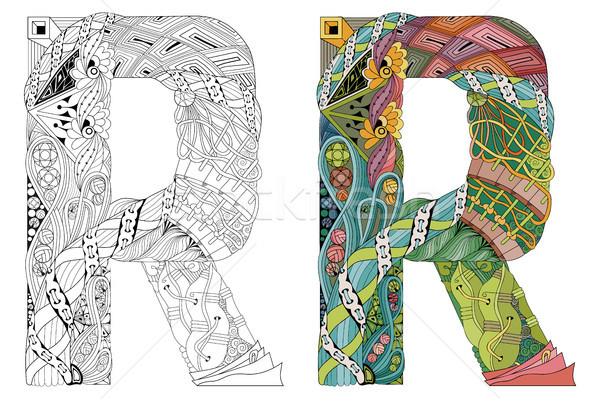 Letter R zentangle for coloring. Vector decorative object Stock photo © Natalia_1947