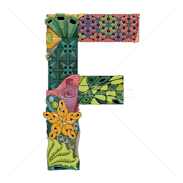 Letter F zentangle. Vector decorative object Stock photo © Natalia_1947