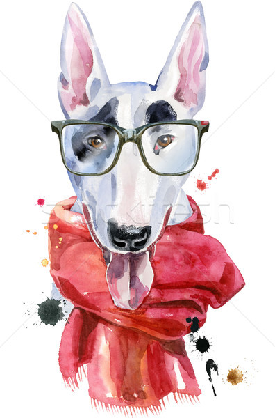 Watercolor portrait of bull terrier with glasses and a red scarf Stock photo © Natalia_1947
