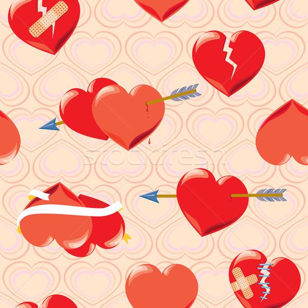 бесшовный сердцах красный Валентин день Стрелки Сток-фото © Natalia_1947