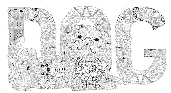 Word DOG for coloring. Vector decorative zentangle object Stock photo © Natalia_1947