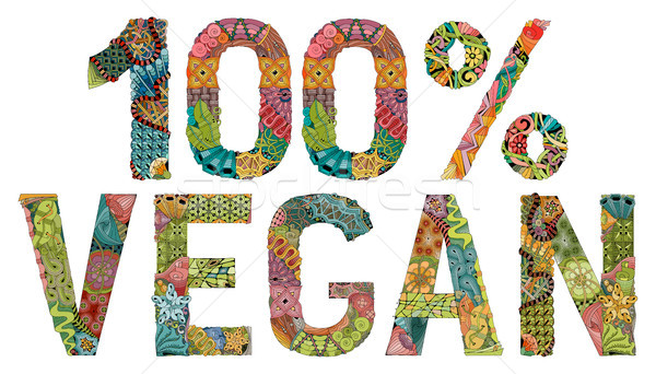Vegan 100 percent. Vector decorative zentangle object Stock photo © Natalia_1947