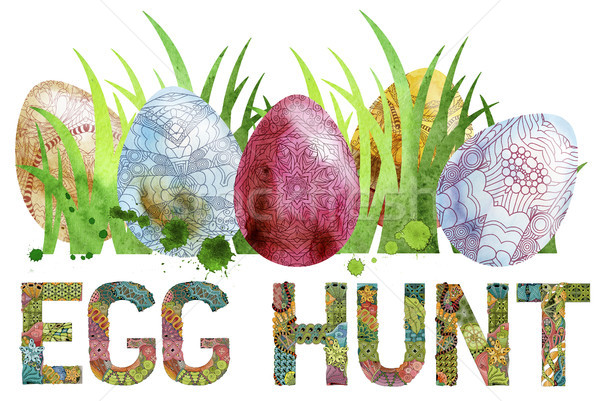 Watercolor Easter colored eggs with words egg hunt Stock photo © Natalia_1947