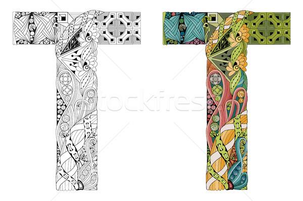 Letter T zentangle for coloring. Vector decorative object Stock photo © Natalia_1947
