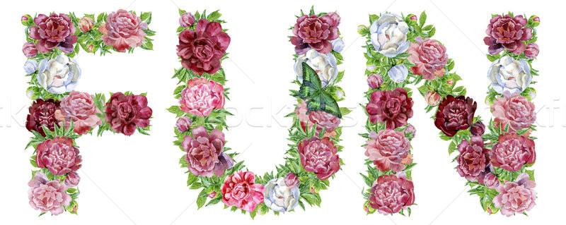 Palabra diversión acuarela flores aislado dibujado a mano Foto stock © Natalia_1947