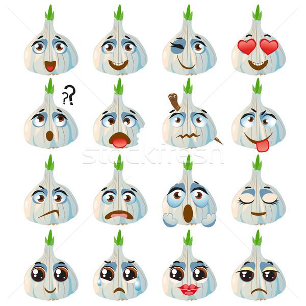 Garlic Emoji Emoticon Expression. Funny cute food Stock photo © Natalia_1947
