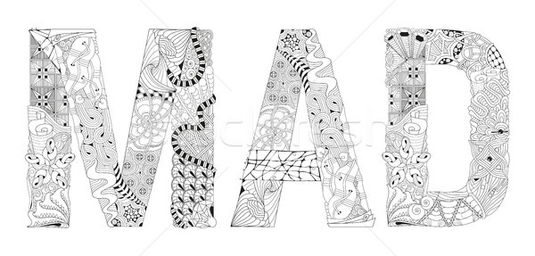 Word MAD for coloring. Vector decorative zentangle object Stock photo © Natalia_1947