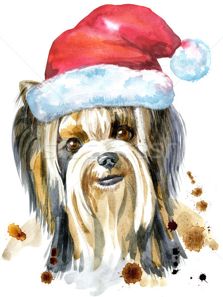 Watercolor Portrait Of Yorkshire Terrier Breed Dog with Santa hat Stock photo © Natalia_1947