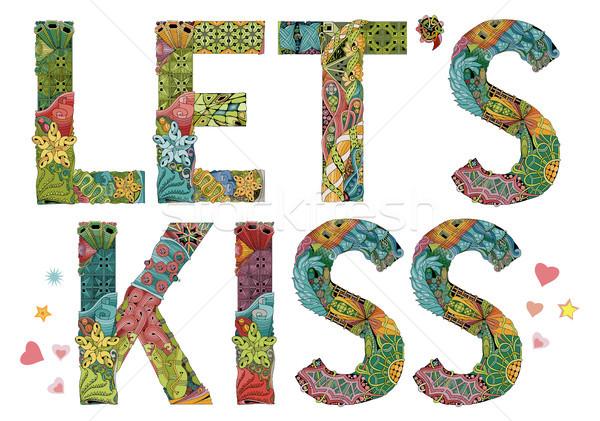 Let s kiss. Vector decorative zentangle object Stock photo © Natalia_1947