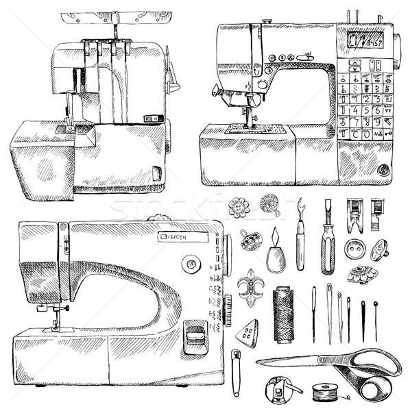 Dibujado a mano boceto coser establecer sastre tienda Foto stock © Natalia_1947