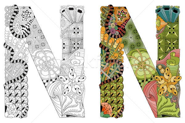 Letter N zentangle for coloring. Vector decorative object Stock photo © Natalia_1947