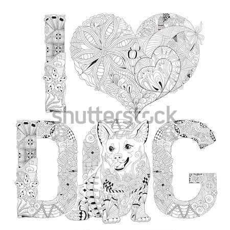 Number 2018 zentangle with dog. Vector decorative object Stock photo © Natalia_1947