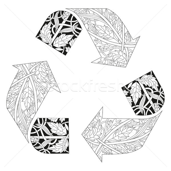 Recycle icon illustration for coloring. Vector decorative zentangle object Stock photo © Natalia_1947