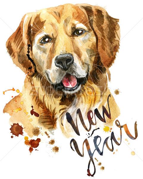Aquarel portret golden retriever cute hond tshirt Stockfoto © Natalia_1947