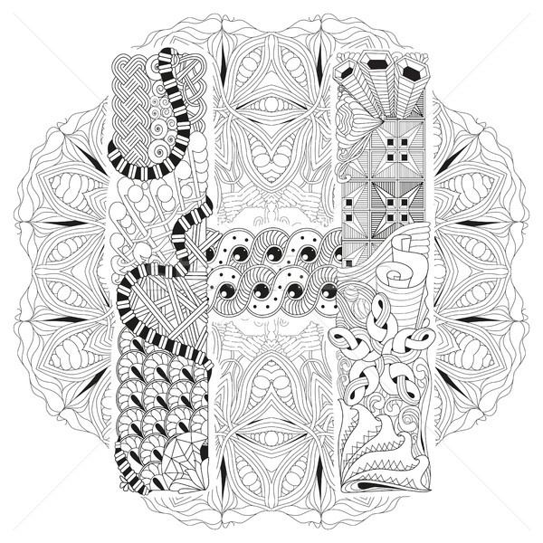 Mandala with letter H for coloring. Vector decorative zentangle Stock photo © Natalia_1947
