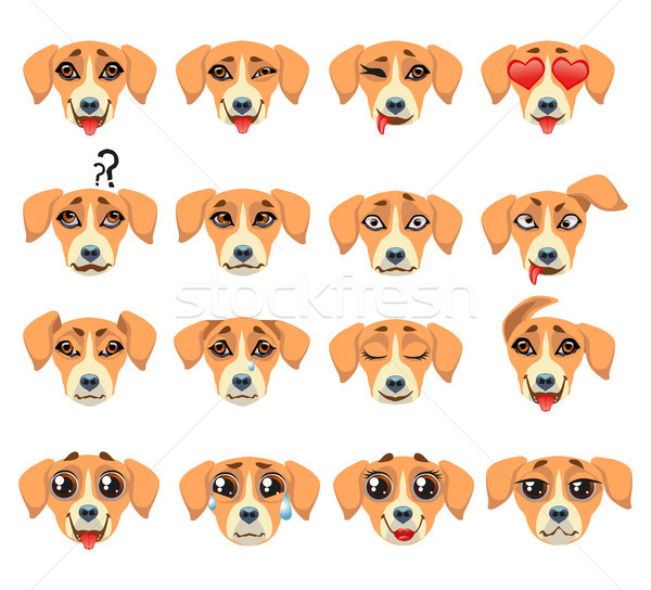 Golden retriever hond emoticon ingesteld vector stickers Stockfoto © Natalia_1947