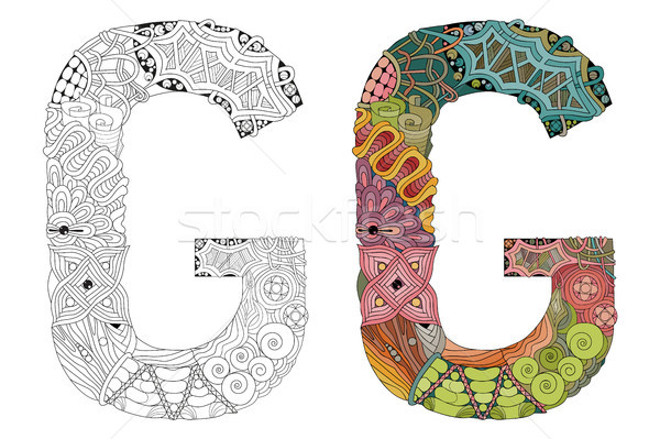 Letter G zentangle for coloring. Vector decorative object Stock photo © Natalia_1947