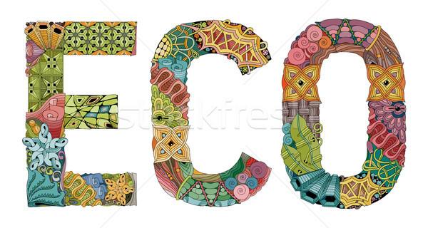 Word eco. Vector decorative zentangle object Stock photo © Natalia_1947
