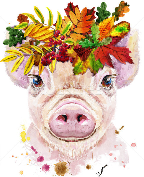 Watercolor portrait of mini pig with wreath of leaves Stock photo © Natalia_1947