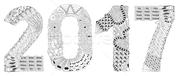 Number 2017 Zentangle. Vector decorative object Stock photo © Natalia_1947