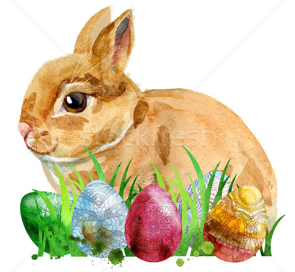 Watercolor illustration of a beige rabbit with eggs and grass Stock photo © Natalia_1947